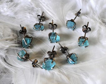 Blue Sky stud earrings/ Raw Neon Blue Apatite stud earrings/ oxidized sterling silver/Birthstone/Rough Apatite earrings/Crystal studs