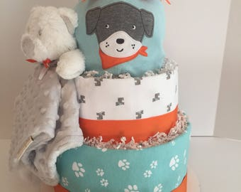 Puppy Diaper Cake, Boys Diaper Cake, Diaper Cake, Baby Boy Gift, Baby Shower Gift, Baby Shower Centerpiece, Welcome Home Baby Gift, Baby Boy