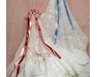 Babies Knitted Lace Heirloom Christening Shawls, Vintage Knitting Pattern - PDF, Digital Download