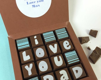 LOVE YOU DAD - Milk Chocolate with Personalised Message - Father's Day - I Love you Dad - We Love You Dad - Gift for Dad - Best Dad Gift