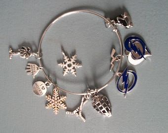 Tampa Bay Lightning Bangle, FREE add ons from me for the playoffs. All sported out, 2 logo choices, or ask me for your team