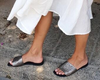 Slide Sandals, Silver Sandals, Flat Sandals, Women's Sandals, Leather Sandals, Slip On Shoe, Summer Sandals, Women's Slides, Metallic Sandal