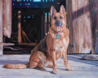 """Ruby's Barn, CUSTOM Pet Portrait Oil Painting dog paintings by puci, 18x24"""""""