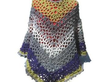 Crochet Poncho Sober and Elegant Poncho Shawl Wrap Pullover Style Retro Fashion Handmade