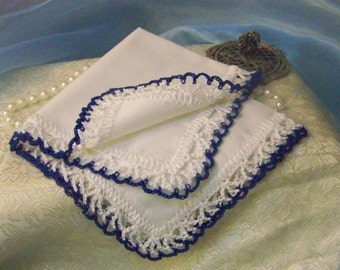 Royal Blue Handkerchief, Hanky, Hankie, Hand Crochet, Bridal Party Gift, Personalized, Monogrammed, Embroidered, Custom, Lace, Bridesmaids