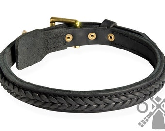 Braided Leather Dog Collar with Solid Brass Buckle (model OldMill-C47)
