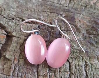 Vintage Pink Moonglow Earrings, Bubblegum Pink Moonglow  Dangle Earrings, Oval Drop Earrings, Dainty Moonglow Earrings