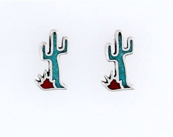 Sterling Silver Turquoise & Coral Cactus Post or Stud Earrings