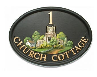 Beautiful Hand-painted House Sign / Plaque Personalised [Church Tower] [Special Gift, Housewarming, New Home] [WORLDWIDE DELIVERY]