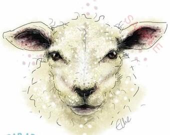 Sheep art // sheep print // sheep gifts // farm house decor // farm nursery wall art // farm animals // farm animal prints