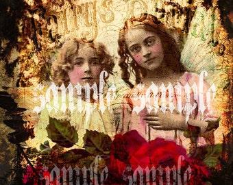 Engel original Collage digitale Collage Blatt DIGITAL herunterladen künstlerbedarf Druck verändert Kunst schöne viktorianische Kinder Shabby Chic