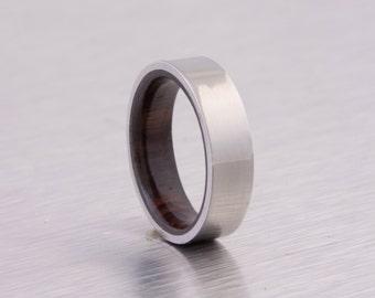 wood ring titanium band wedding ring woman wood man jewelry engagement ring wood wedding band COCOBOLO