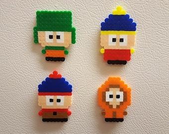 South Park, Perler Beads, Kenny, Kyle, Stan, Cartman, cartoon, pixel art, magnet, keychain, hama beads, perler, south park art
