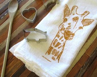 Tea Towel - Screen Printed Flour Sack Towel - Eco Friendly Cotton - Dish Towel - Giraffe - Absorbent Kitchen Towel - Classic Flour Sack
