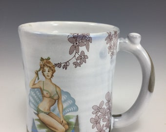 Naughty Girl Mug! Forget Me Not flowers