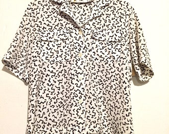 80s Vintage Black and White Print Button Up Blouse XL wt06103