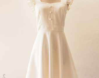 Off White Dress Vintage Style Bridal Dress Wedding Dress White Bridesmaid Dress Ruffle Sleeve Dress