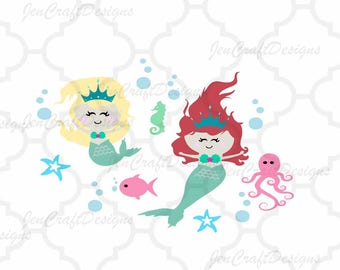 Mermaid Svg Girl, Ocean Scene Summer Svg Octopus, Fish, Starfish svg, SVG, EPS, DXF, Studio, Printable Png  Cricut Explore, Silhouette Cameo