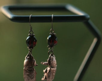 Bugs earrings, copper electroformed insect, dark red,Halloween witches, electroforming, magic amulet, pagan dark elves jewelry,electroplated