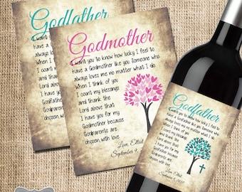 Baptism Thank You Gift, God Parent Thank You, Wine Label for Godmother, Wine Label for Godfather, Custom Wine Label, Set of 2 Wine Labels