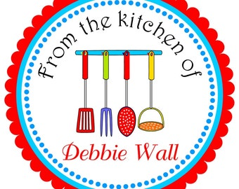 Kitchen Utensils Stickers, Personalized Labels - set of 12