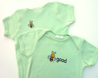 Organic Short Sleeve Bodysuit - Gender Neutral - Lightweight Ribbed Cotton - Screen Printed 2-Sided - BEE GOOD - Bee on Back - Size 12-18 M