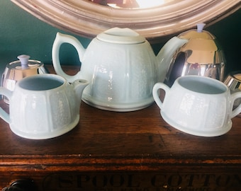 1950's Insulated Tea Pot, Creamer, Sugar Set, From London, Made in England, Baby Blue W/Aluminum Covers