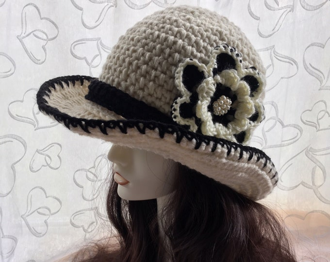 Crochet Cowboy Hat-Women's Sun Hat-Western wear-Vintage Style-Versatile-Cloche hat-Classic Accessories -Party Hats-Winter Wear-Flowers