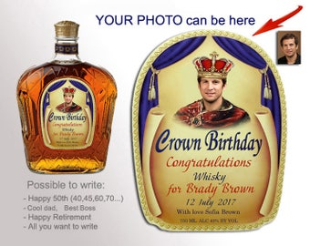Crown Royal Label For Birthday Custom Whiskey Labels Liquor With Your Photo