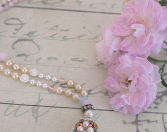 Shabby Chic Necklace, Mothers Day Gift,  Pink Necklace, Romantic Necklace, Gift for Her , Statement Necklace ,   by VintageRoseGallery