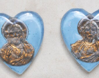 Jesus Glass Hearts, TWO, Vintage Cabochons, Jesus Cameos, Glass Cameos, 18 X 20mm, Heart Cabochons