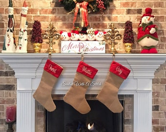Burlap Christmas Stockings, Embroidered Stocking