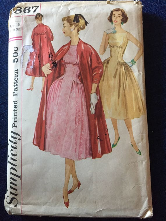 Vintage Simplicity 1867 Sewing Pattern, 1950s Dress Pattern, Fit and ...