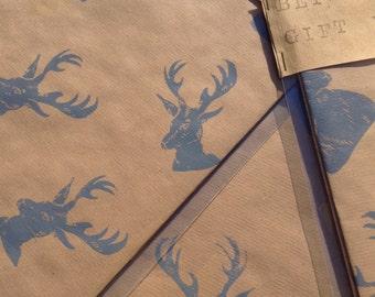 Hand Printed Gift wrap, luxury gift wrap, luxury paper, hand printed paper, linocut gift wrap, stag gift wrap, Christmas gift wrap, stags,