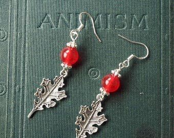 Red Oak Leaf and Carnelian Earrings - For Strength and Courage - Pagan, Wicca, Witchcraft, Sterling silver earwires