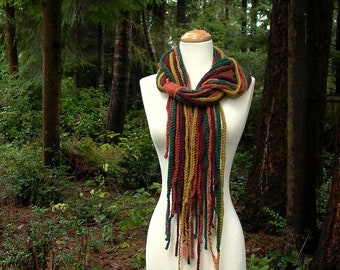 abstract landscape. crochet chain scarf lariat cowl . chunky extra long bohemian forest gypsy scarf . mustard rust pine green burgundy