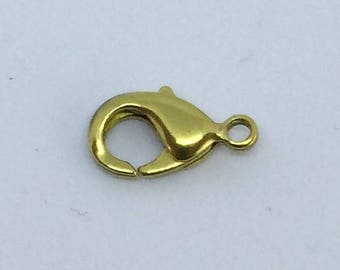 Lot of 5 15mm brass lobster clasps