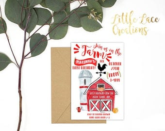 FARM INVITATION/ Farm Birthday Invitation/  Watercolor Farm invitation/ Farm first birthday