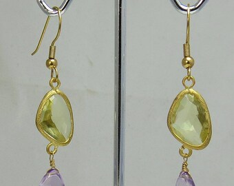 Gold Tone Natural Citrine and Amethyst Dangle Earrings