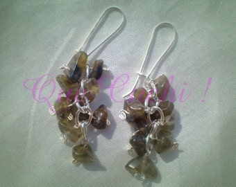 Grape earrings with stone chips Labradorite