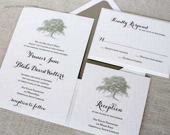 Oak Tree Wedding Invitations, Rustic Wedding Invitations, Oak Invitations, Outdoor Wedding Invitations, Angel Oak Tree Wedding Invitations