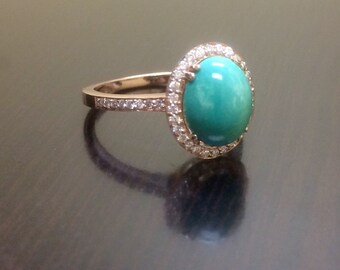 14K Rose Gold Turquoise Halo Diamond Engagement Ring Rose