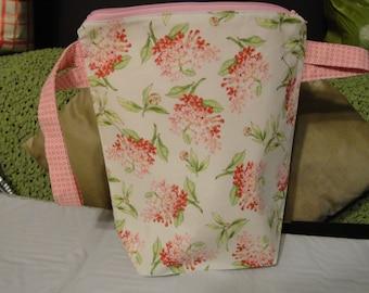 Pink Flowers - Tall - Zipper Project Bag