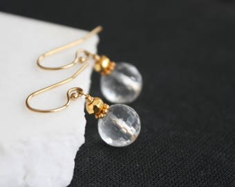 Gold Filled Rock Crystal Earrings l Drop Earrings l Rock Crystal Earrings l Minimalist Earrings l Gift for her i Bridal Jewelry
