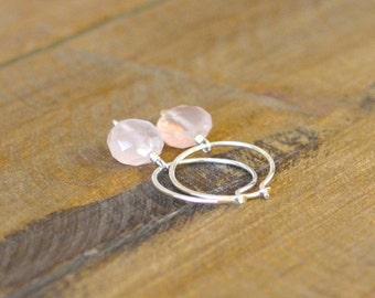 Rose Quartz and Sterling Silver Hoop Earrings