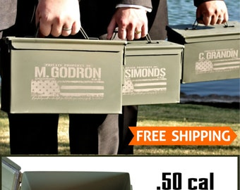 Personalized Best Man Gift, Ammo Box, American Flag Ammo Can, Father of the Bride Groom, Best Man Gift, Custom Groomsmen Gift