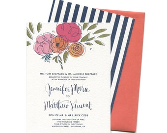 Modern Wedding Invitation with Calligraphy Sample Pack  | Peonies, Ranunculus and Roses with Stripes Wedding Invitation