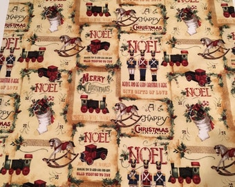 """Holiday Kitchen Tea Towel 100% Cotton -Christmas Vintage Toy Fabric, Hand Towel 18"""" X 30"""", Hostess Gift, Holiday Gift"""