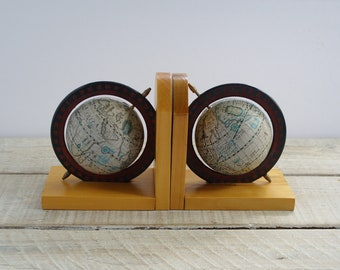 Vintage Globe Bookends ~ Retro Book End Set ~ Office Library Shelf Decor ~ Wooden Wood Bookend Pair