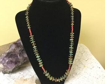 Vintage Turquoise Heshi Bead Necklace